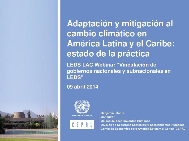 File:Adaptación y mitigación al cambio climático en America Latina y el Caribe estado de la práctica B Infante.pdf
