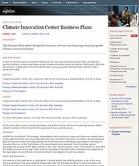 World Bank Climate Innovation Centers Screenshot