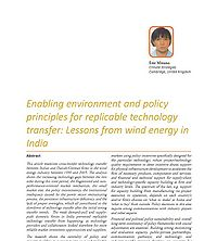 Enabling Environment and Policy Principles for Replicable Technology Transfer: Lessons from Wind Energy in India Screenshot