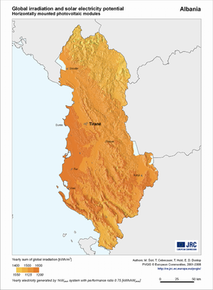 Albania global irradiation and solar electricity potential (horizontally-mounted photovoltaic modules)