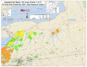 Appalachian Basin, New York Area Oil and Gas Fields By 2001 Gas Reserve Class