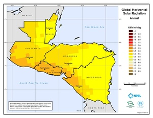 Central America - Annual Global Horizontal Solar Radiation