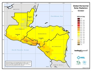 Central America - October Global Horizontal Solar Radiation