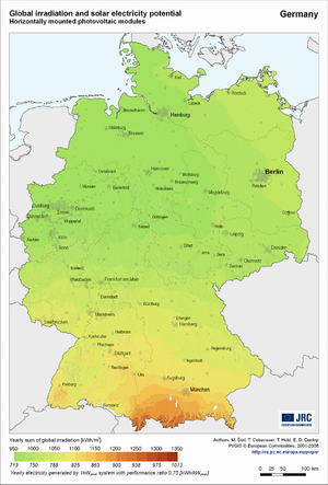 Germany global irradiation and solar electricity potential (horizontally-mounted photovoltaic modules)