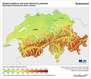 Switzerland global irradiation and solar electricity potential (optimally-inclined photovoltaic modules)