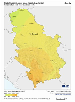 Serbia global irradiation and solar electricity potential (horizontally-mounted photovoltaic modules)