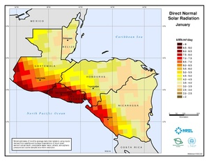 Central America - January Direct Normal Solar Radiation