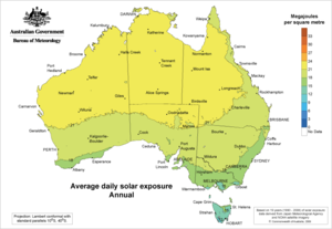 Average Daily Solar Exposure: Australia
