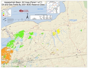 Appalachian Basin, New York Area Oil and Gas Fields By 2001 BOE Reserve Class