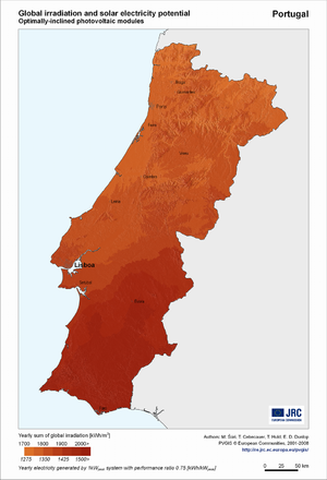 Portugal global irradiation and solar electricity potential (optimally-inclined photovoltaic modules)