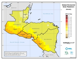 Central America - January Global Horizontal Solar Radiation