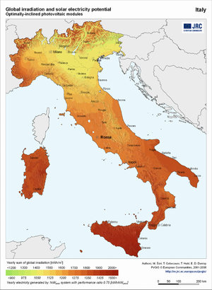 Italy global irradiation and solar electricity potential (optimally-inclined photovoltaic modules)