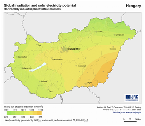 Hungary global irradiation and solar electricity potential (horizontally-mounted photovoltaic modules)