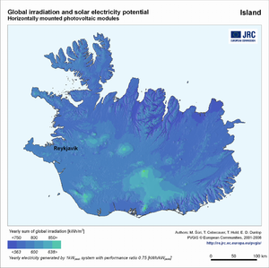 Iceland global irradiation and solar electricity potential (horizontally-mounted photovoltaic modules)