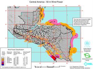 Mapa de viento de Centroamérica