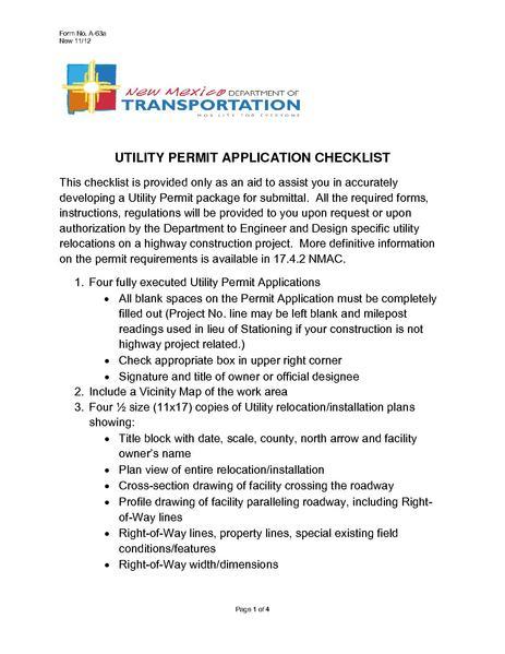 File:NMDOT Utility Permit Application Checklist.pdf