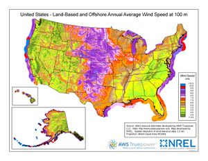 Map of the U.S. land-based and offshore annual average wind speed at 100m