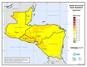 Central America - September Global Horizontal Solar Radiation