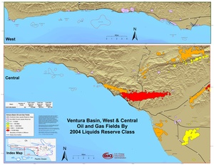 Ventura Basin, West and Central Parts By 2001 Liquids Reserve Class