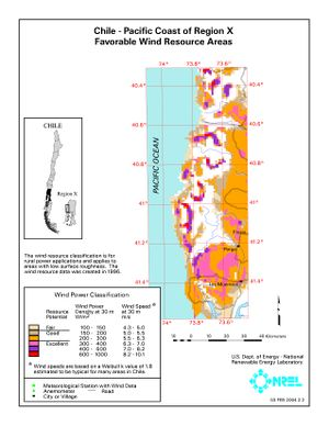 Chile - Pacific Coast of Region X Favorable Wind Resource Areas