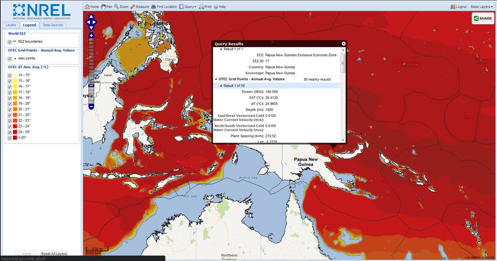 MHK Atlas OTEC analysis example