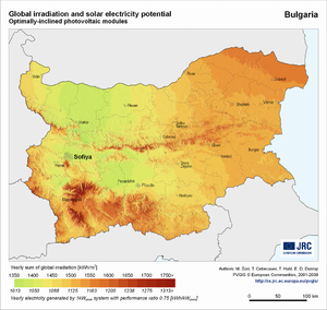 Bulgaria global irradiation and solar electricity potential (optimally-inclined photovoltaic modules)