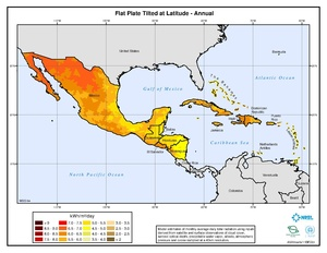 Caribbean - Annual Flat Plate Tilted at Latitude Solar Radiation