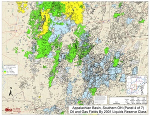 Appalachian Basin, Southern Ohio, Southwestern Pennsylvania, and Northwestern West Virginia By 2001 Liquids Reserve Class