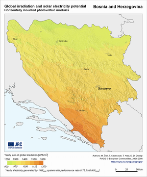 Bosnia and Herzegovina global irradiation and solar electricity potential (horizontally-mounted photovoltaic modules)