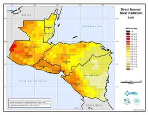 Central America - April Direct Normal Solar Radiation