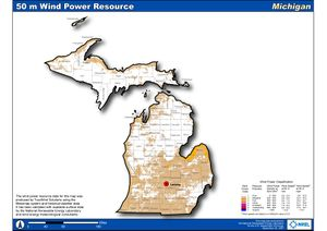Michigan 50m Wind Resource (JPG)