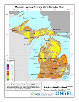 Michigan - Annual Average Wind Speed at 80 m