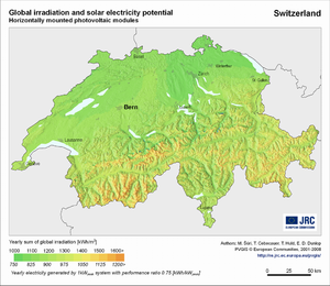 Switzerland global irradiation and solar electricity potential (horizontally-mounted photovoltaic modules)