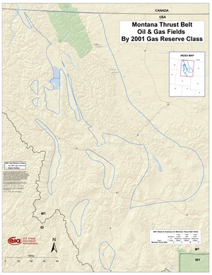 Montana Thrust Belt By 2001 Gas Reserve Class