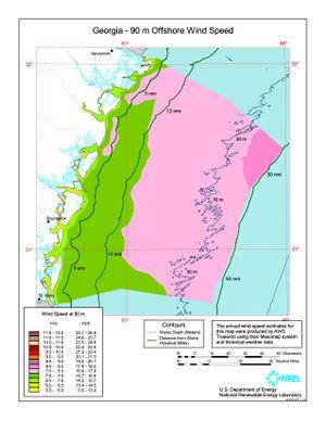 Georgia 90m Offshore Wind Speed