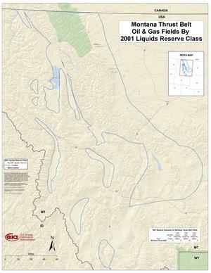 Montana Thrust Belt By 2001 Liquids Reserve Class