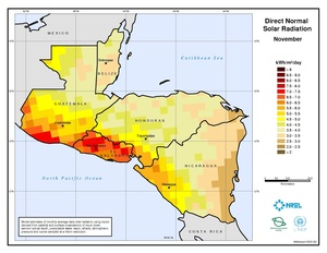 Central America - November Direct Normal Solar Radiation