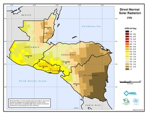 Central America - July Direct Normal Solar Radiation