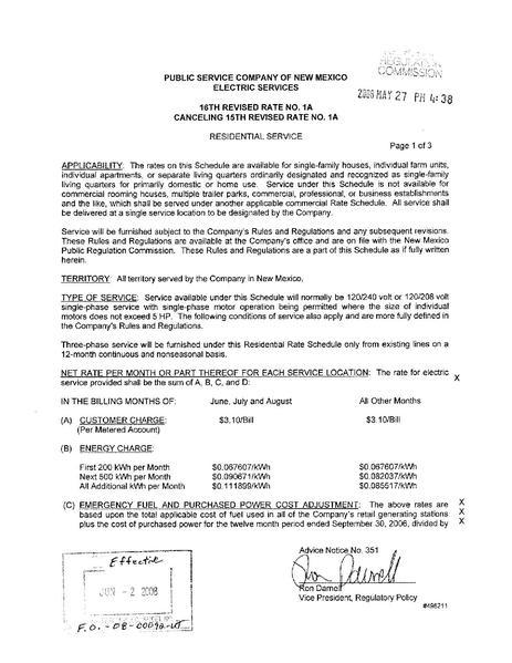 File:Utility Rate Public Service Co of NM schedule 1 a.pdf