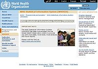 WHO Statistical Information System (WHOSIS) Screenshot