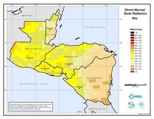 Central America - May Direct Normal Solar Radiation