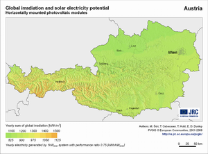 Austria global irradiation and solar electricity potential (horizontally-mounted photovoltaic modules)