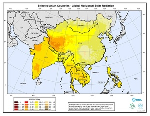 Selected Asian Countries - Annual Global Horizontal Solar Radiation