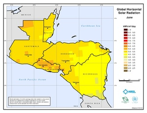 Central America - June Global Horizontal Solar Radiation