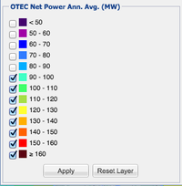 OTEC Net Power layer legend with disabled classes