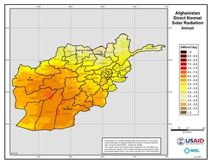 Afghanistan - Annual Direct Normal Solar Radiation