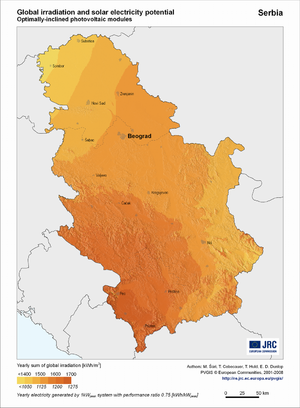 Serbia global irradiation and solar electricity potential (optimally-inclined photovoltaic modules)