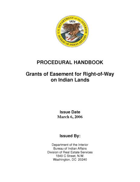 File:BIA Procedural Handbook-Grant of Easement for Right of Way on Indian Lands.pdf