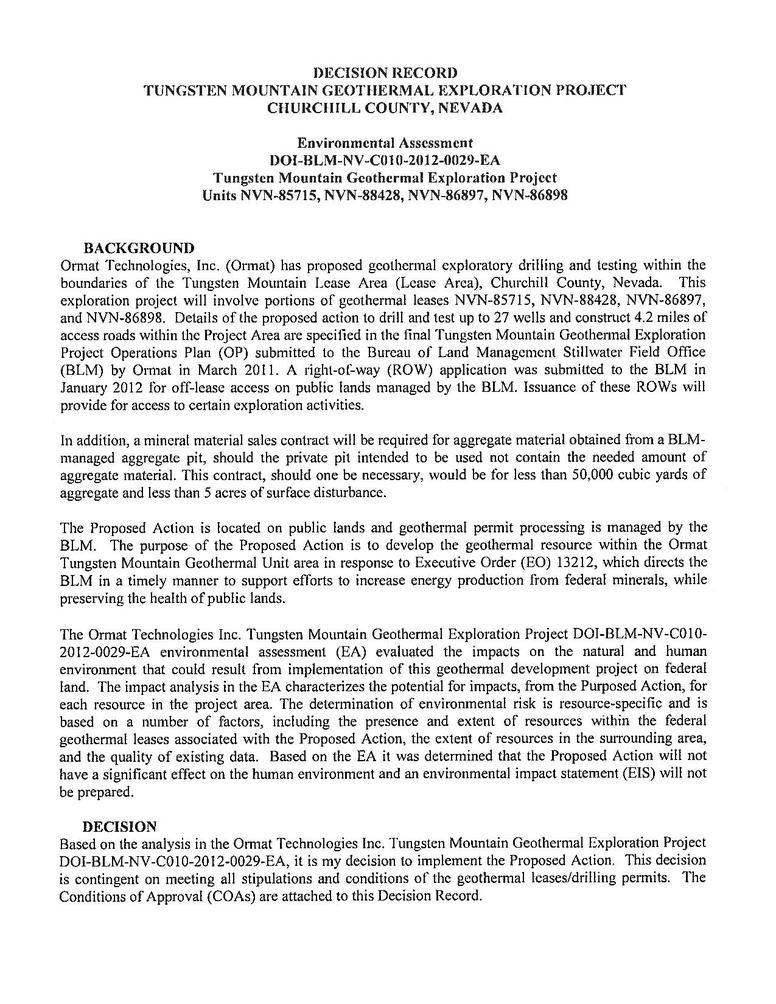 File:Decision Record Tungsten Mountain Geotehrmal Exploration Project 03 28 2012.pdf