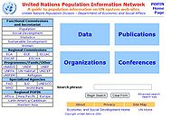 United Nations Population Information Network Screenshot